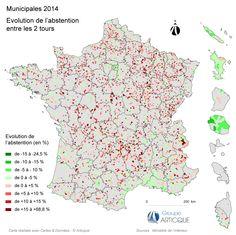 Municipales 2014 : carte de l'évolution de l'abstention entre les 2 tours