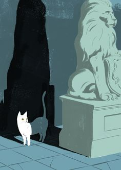 Jun Cen ~ Cat in the Shadow of Lion's Statue