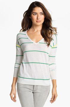 Caslon® Stripe V-Neck Sweater