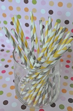 Paper Straws  50 Gray and Yellow Striped by EnchantedFrogEvents, $8.00