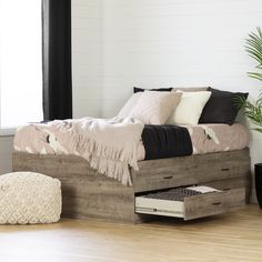 South Shore Step One Full Platform Bed with Drawers & Reviews | Wayfair Platform Bed With Drawers, Bed Frame With Drawers, Full Platform Bed, Platform Bed Frame, Platform Bed Storage, Full Size Storage Bed, Full Size Beds, Captains Bed, Weathered Oak