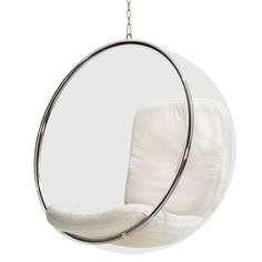 The Bubble Chair is based on the idea of the Ball Chair and was designed by Eero Aarnio in 1968. Like the Ball Chair, the Bubble Chair has a simple shape – a ball – but is made of different materials and does not have a pedestal but it hangs from the ceiling!