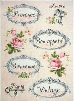 Rice Paper for Decoupage Decopatch Scrapbook Craft Sheet Vintage Labels & Roses: