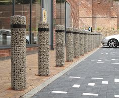 Gabion bollards, Marks & Spencer Eco Store, Sheffield