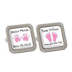Pink hand and foot cufflinks Order on our website www.moomoo-memories.co.uk