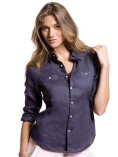 Navy Linen Shirt for Women - Women's Linen Shirts | Island Company
