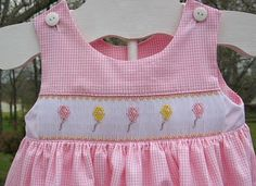 Girl's version of the Balloon smocking design  using versions of pattern #132