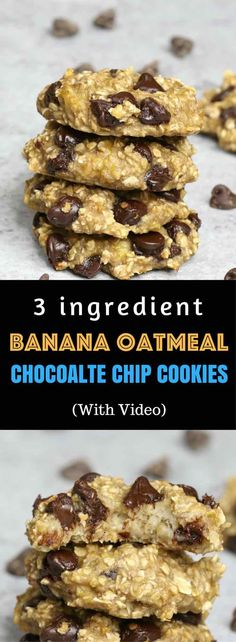 : Banana Oatmeal Chocolate Chip Cookies – Soft, chewy, and super easy cookies. All you need is only 3 ingredients: two ripe bananas, some oats and a handful of chocolate chips. Gluten-free, dairy-free, quick and easy recipe. Vegetarian. Video Recipe. | Tipbuzz.com