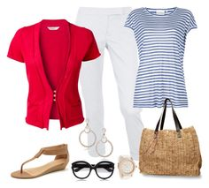 """""""End of Summer"""" by fiftynotfrumpy ❤ liked on Polyvore featuring Dorothy Perkins, DKNY, Quiksilver, Marni, Miss Sixty, LK Designs, wedge sandals, totes, sunglasses and red cardigans"""