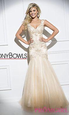 Long Lace V-Neck Tony Bowls Prom Dress at PromGirl.com