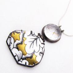 Shop: Quartz with gold & broken broken plate pendant - The Clay Studio. necklace