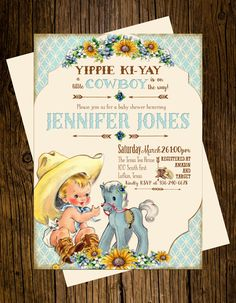 Cowboy baby shower invitation cowgirl baby shower western baby cowboy western baby shower invitations personalized custom printed set of 12 party invites vintage ecru rustic blue pony sunflowers filmwisefo