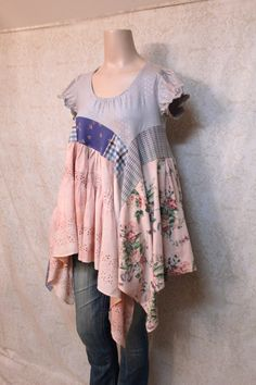 REVIVAL Women's Upcycled Boho Shirt, Shabby Chic Country Bohemian Junk Gypsy Style, Medium to Large, Recycled Repurposed EcoFriendly Funky Design, Knit Shirt, Gypsy Style, Star Print, Printed Cotton, Repurposed, Shabby Chic, Sew, Ruffle Blouse