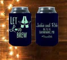 Let Love Brew customized koozies are the perfect koozies for your wedding!   Our koozies will keep you drinking in style, while keeping you beverage cold.   Customized Let Love Brew are the Perfect Wedding Coolies by StripedPeanut