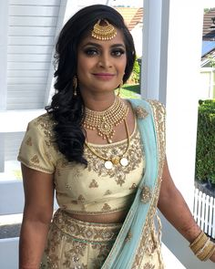 Reception look for my beautiful bride from yesterday 😍❤️ Gold Mangalsutra, Indian Wear, Beautiful Bride, Blouse Designs, Sarees, Boobs, Reception, Hairstyle, Bridal