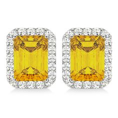 these emerald-cut yellow sapphire and diamond halo earrings are absolutely luxurious. Dress up any outfit with these gorgeous white gold emerald-cut emerald and diamond halo earrings. Sapphire Stone, Diamond Stone, Sapphire Diamond, Halo Diamond, Princess Cut Diamonds, Emerald Cut, Gemstone Earrings, Modern Jewelry, Round Diamonds