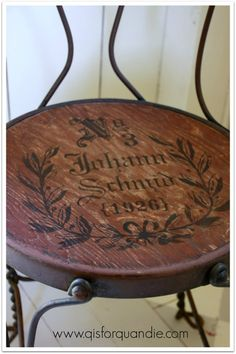 Vintage Ice Cream Parlor Chair With Stenciled Seat