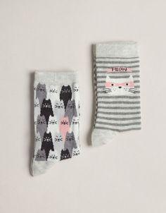 Pack of cat print socks Oysho (here's looking at you Amanda & Emily!)