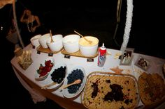 Dessert bar... Yummy! Local ice cream and all th toppings!
