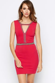 Embellished Cut-Out Front Bodycon Dress