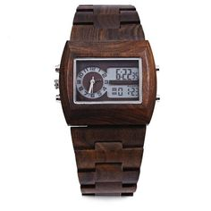 bdcb78951d9 Bewell Luxury Brand Wood Watch men Analog Digital Movement Date Waterproof  Male Wristwatches With Alarm Date