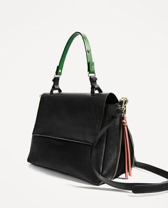Image 3 of LEATHER CITY BAG WITH INTERCHANGEABLE HANDLE from Zara