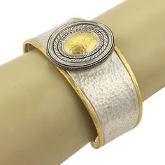 This is an impressive authentic cuff bracelet by Gurhan from the CAVALIER collection, it is crafted from solid sterling silver with 24k gold accent in a hand hammered finish. The front of the 32mm wide band boast an oval shaped form with blackened silver milgrain and art work design and hammered yellow gold in the center, the band is in silver with yellow gold piping at the ends it starts wide from the center and tapers off smaller around the back. | eBay!