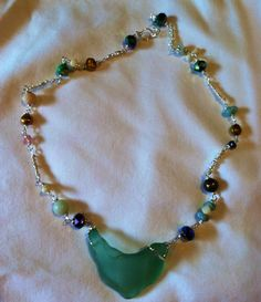 Sea Glass wire wrapped necklace on Etsy, $58.00