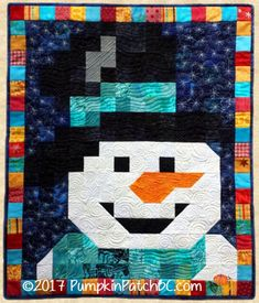 Small Quilts, Mini Quilts, Scrappy Quilts, Snowman Quilt, Christmas Sewing Projects, Barn Quilt Patterns, Winter Quilts, Quilted Wall Hangings, Barn Quilts