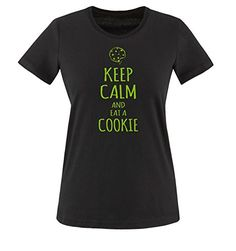 Comedy Shirts - KEEP CALM and eat a COOKIE - mujer T-Shirt camiseta - negro / verde tamaño XL #camiseta #starwars #marvel #gift