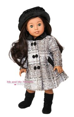 """American Girl 18/"""" Grey Winter Coat with Velvet Collar and Cuffs ~ DD502GY"""