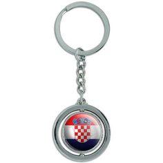 Croatia Flag Soccer Ball Futbol Football Spinning Round Metal Key Chain Keychain Ring, Silver
