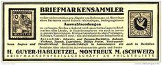 Original-Werbung/ Anzeige 1926 - BRIEFMARKENSAMMLER- GUYER- HABLUETZEL MONTREUX -  ca. 130 x 50 mm