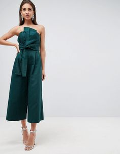 231f472c3132 ASOS Jumpsuit in Structured Fabric with Knot Front and Drape Detail -  Strapless Jumpsuit