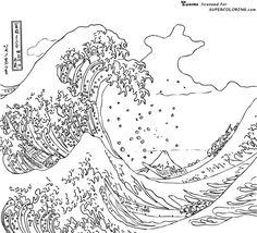 Die große Welle vor Kanagawa, von Hokusai  Ausmalbild