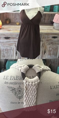 🆕 brown crochet back dress Brown empire waist dress with crochet embellished T-strap. Bust has light padding One Step Up Dresses