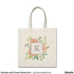 Peaches and Cream Watercolor Floral with Monogram Tote Bag - A beautifully feminine bouquet of watercolor peonies, ferns and greenery peek out from a square frame and custom monogram that you can edit with your desired initial or other text. Sold at DancingPelican on Zazzle.