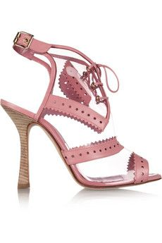 $361.48 - Oscar de la Renta clear Barry sandals- Stacked stiletto heel measures approximately 110mm/ 4.5 inches- PVC- Perforated zigzag-cut pink leather trims, tasseled ties and metal eyelets at lace-up front, open round toe- Buckle-fastening ankle strap- Designer color: Begonia