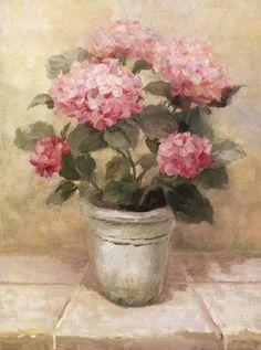 "Pot of Pink Hydrangea, Art Print by Danhui Nai, Medium Small     (paper size 12"" x 16"")"