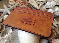 Personalized Wallet / Credit Card Holder Italian Leather by HarrismaLeatherGoods, $33.00