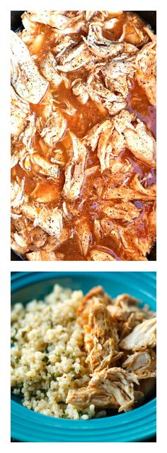 Easy 4-hour! Crock Pot Salsa Chicken on Brown Rice at ReluctantEntertainer.com