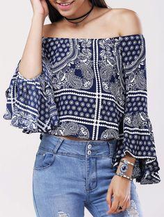 $11.42 Étnica del hombro Impresión tribal de Bell blusa de las mangas para las mujeres