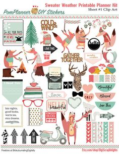Sweater Weather Printable Planner Kit 5 PDFs, Over 300 Stickers EC or Happy Planner, Coral & Mint, Bible, Foxes, Fall, Winter, Icons #Bible #Biblejournaling #plannerlove #planneraddict #coral, #mintgreen #foxes #clipart #printable #plannerstickers