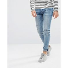 Cheap Monday Tight Skinny Jeans Renew Blue ($63) ❤ liked on Polyvore featuring men's fashion, men's clothing, men's jeans, blue, mens super skinny ripped jeans, mens ripped jeans, mens blue jeans, mens distressed jeans and mens super skinny jeans
