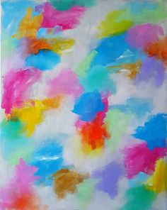 Easter Morning - original 16x20in modern abstract acrylic painting easter sunday spring sky clouds sunset sunrise pink blue yellow gold art  Can make something similar in any colors, just send me a request.   COLOR:  Pink, orange, yellow, green, blue, aqua, gold, and silver. Can make something similar in any colors or size, just send me a request.  SIZE: 16 x 20in   MEDIUM: Acrylic paint and varnish. All of my paintings are original and have not been made into prints unless otherwise stated…