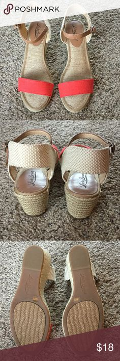 Lucky Brand Wedge Sandal Size 7.5 Lucky Brand wedge sandal. Coral orange and tan. Brand new without tags. Super cute, but too small for me. Lucky Brand Shoes Wedges