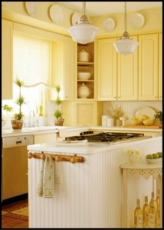 Rissa- can you picture this kitchen w grey walls and the yellow cabinets? I am lovin' the yellow cabinets. Yellow Kitchen Cabinets, Kitchen Cabinet Design, Kitchen Yellow, Yellow Kitchens, Kitchen Walls, White Cabinets, Kitchen Colors, Kitchen Paint, Hickory Cabinets