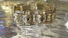 SOLD ANTIQUE ART DECO Spanish Damascene Damascus Panel Link Bracelet SPAIN VINTAGE