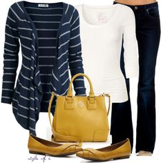 """Mustard and Navy"" by styleofe on Polyvore"