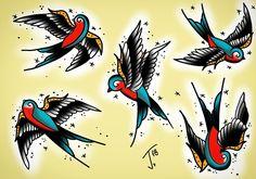 Swallow tattoo sheet #swallow #tattoo #springiscoming #swallowtattoo #traditional #tattoo #tradtattoo #traditionaltattoo #oldschooltattoo #inked #olomouctattoo #lovetat #lovetattoo #traditional_tattoo #sketchbookpro #wacomtattoo #digitalpainting